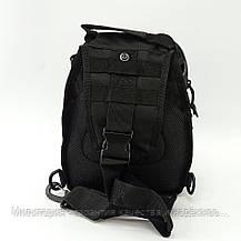 Тактична сумка рюкзак - однолямочный рюкзак через плече, зсу, поліції, нацгвардії Black (093-Black), фото 3