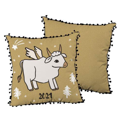 Подушка декоративная шелковая с помпонами 2021 year 45x45 см (45ISP_21NG005)