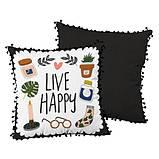 Подушка декоративная шелковая с помпонами Live happy 45x45 см (45ISP_21NG004), фото 2