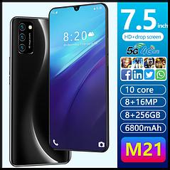 Смартфон M21 Android 9.1 7,5-дюймовый экран черный