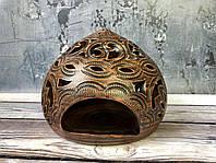 Декорированный подсвечник из красной глины h 15 см, фото 1