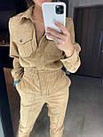 Женский комбинезон брючный из микровельвета с накладными карманами (в расцветках), фото 10