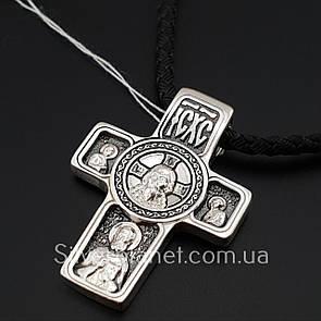 Комплект! Серебряный акимовский крестик с шелковым шнурком. Черненый крест на шнуре с серебряным замком