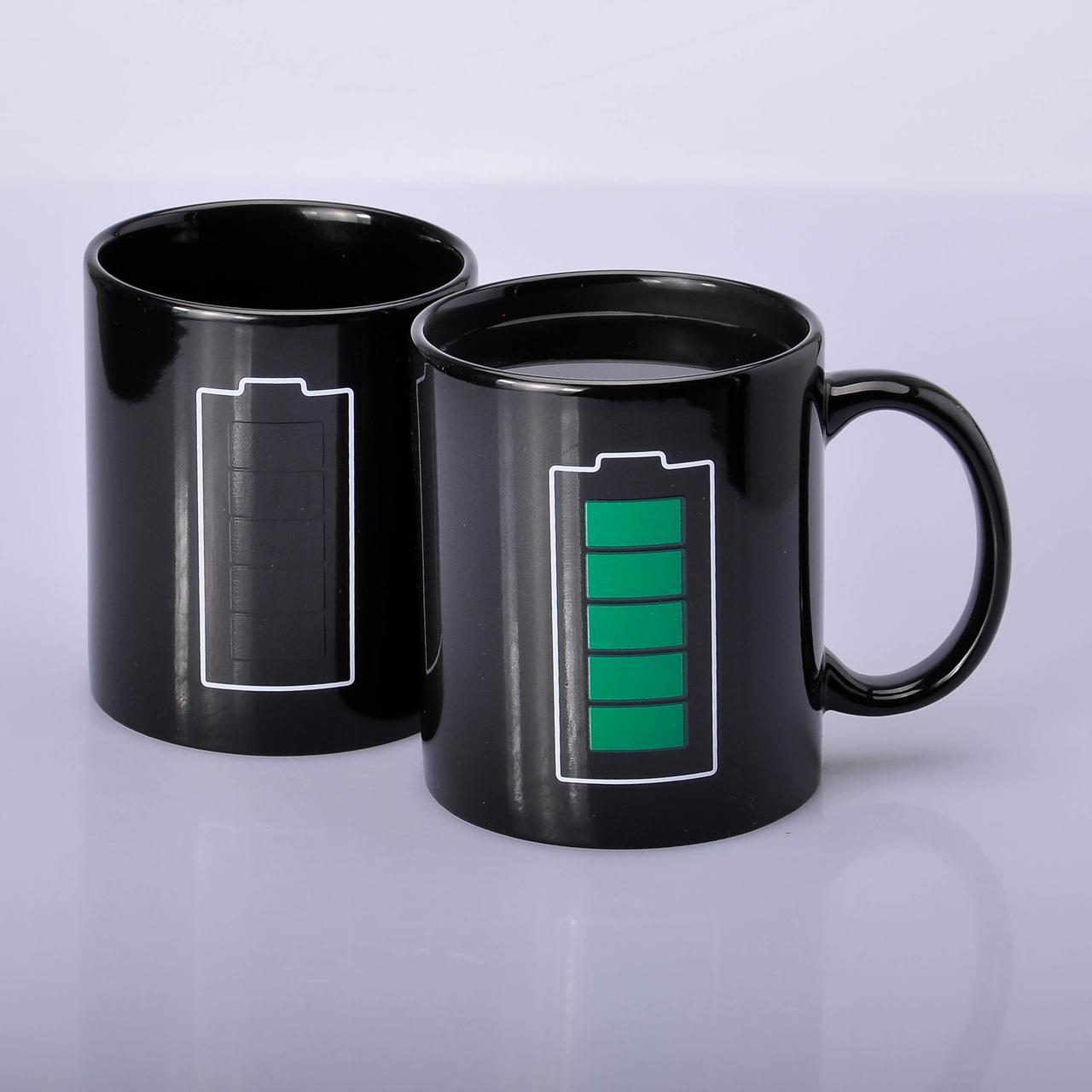 Чашка хамелеон Батарейка черная 330 мл