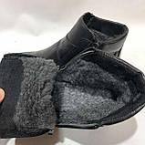 Мужские кожаные зимние сапоги прошитые на меху Черные, фото 8