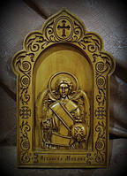 Резная икона Архангел Михаил (300х192)