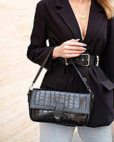 Жіноча сумка Наомі екошкіра 28*16*8 см крокодил чорний