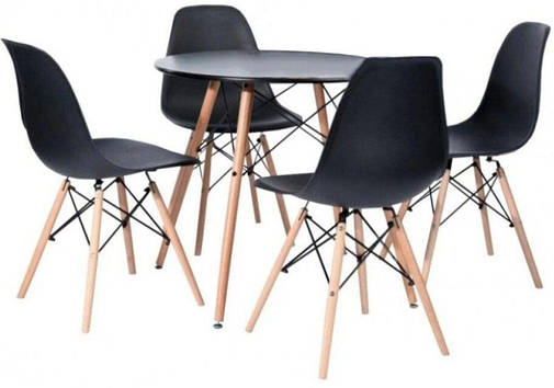 Столик Bonro В-957-600 + 4 чорних крісла B-173 (41300041), фото 2
