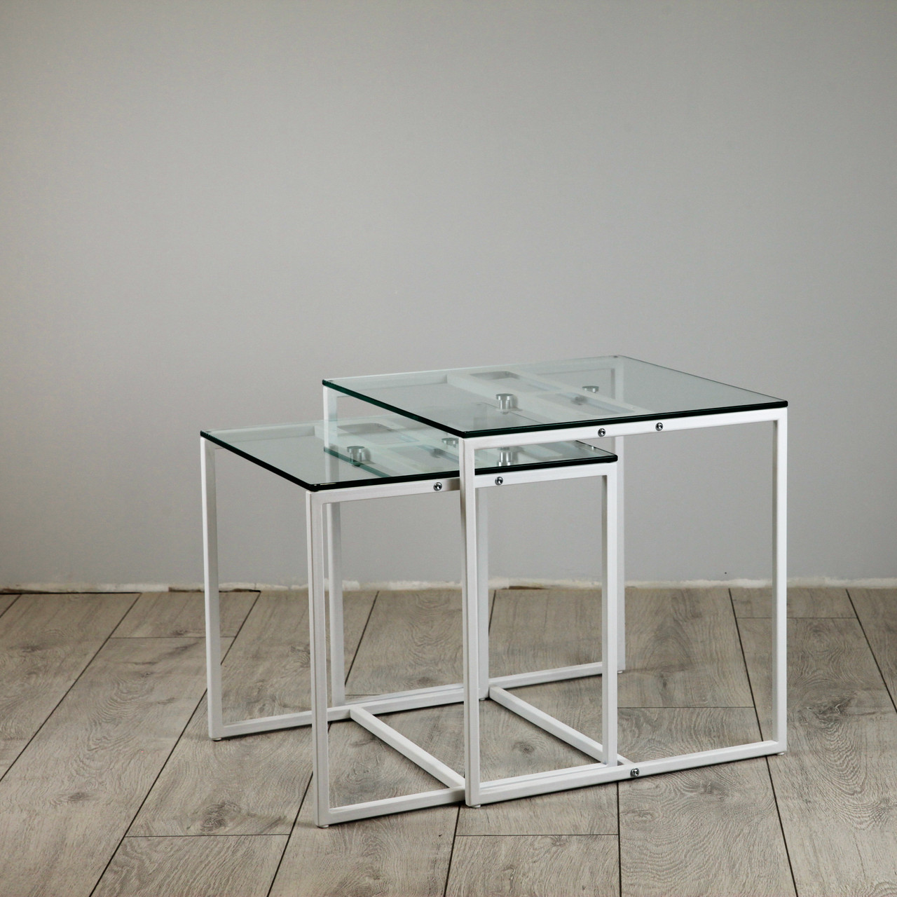 Комплект столов журнальных Куб 400 и Куб 450 - стекло прозрачное 8 / белый (Loft Cub clear8-white)