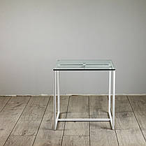 Комплект столов журнальных Куб 400 и Куб 450 - стекло прозрачное 8 / белый (Loft Cub clear8-white), фото 2