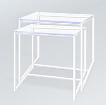 Комплект столов журнальных Куб 400 и Куб 450 - стекло прозрачное 8 / белый (Loft Cub clear8-white), фото 3