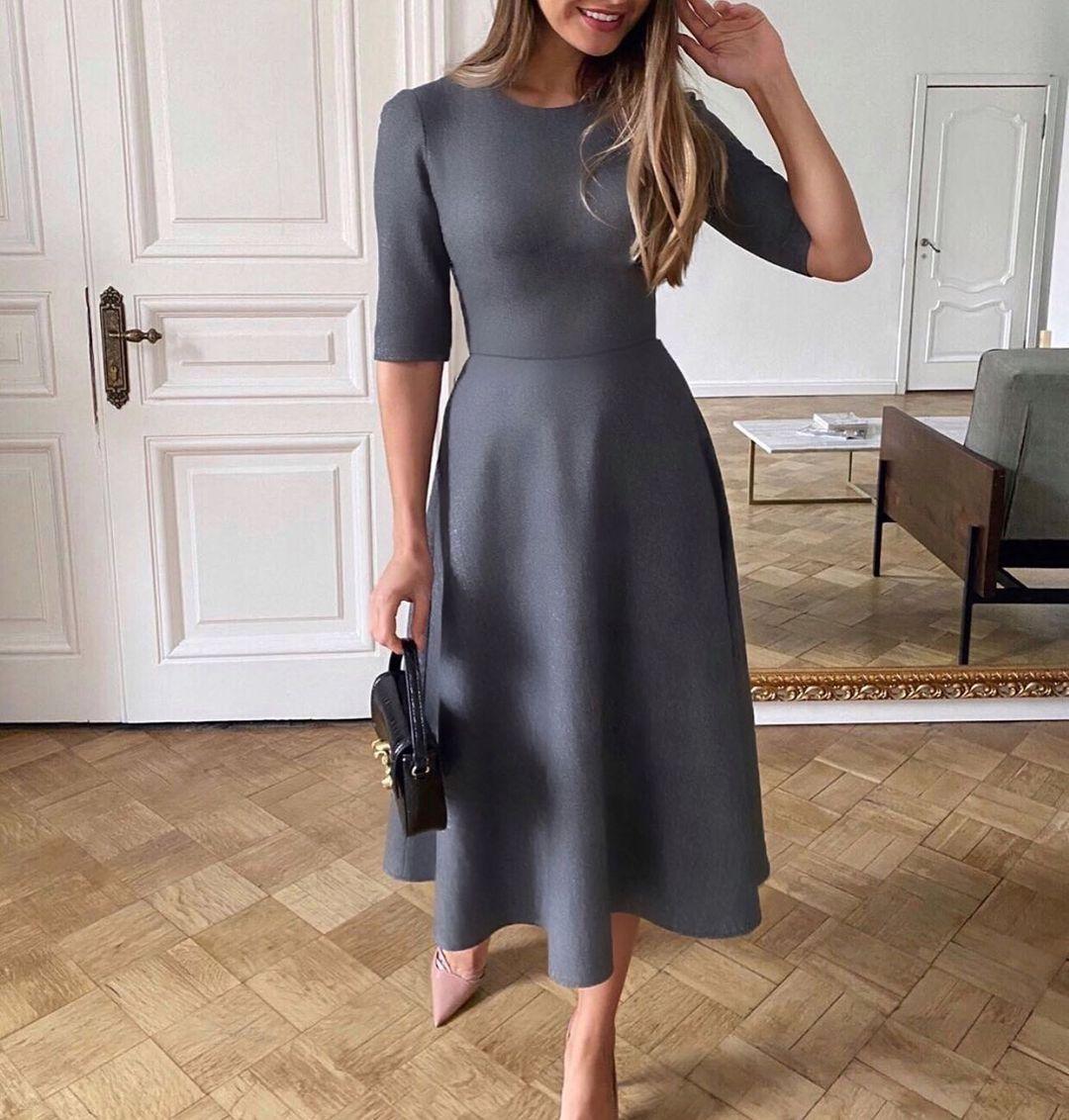 Женское классическое платье миди из замша на дайвинге