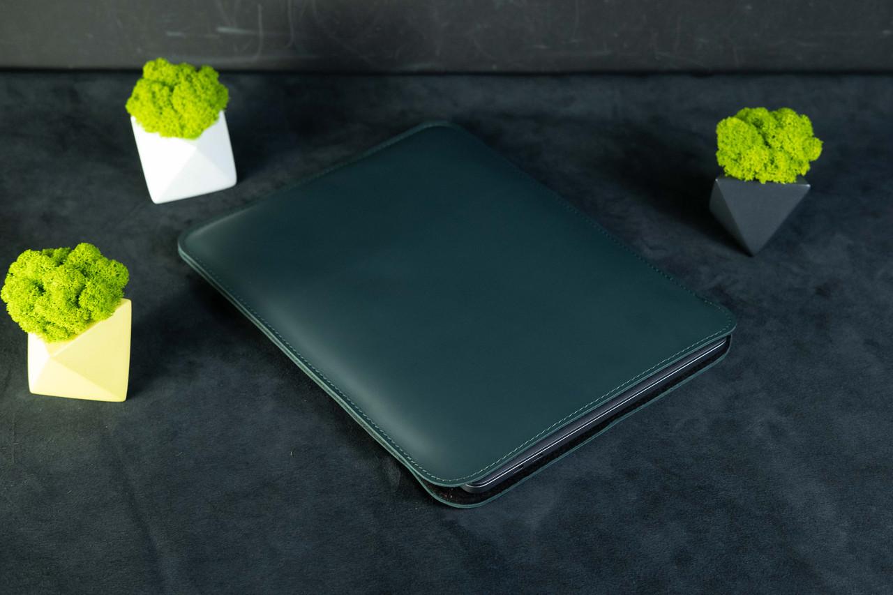 Чохол для MacBook з повстю, Шкіра Grand, колір Зелений