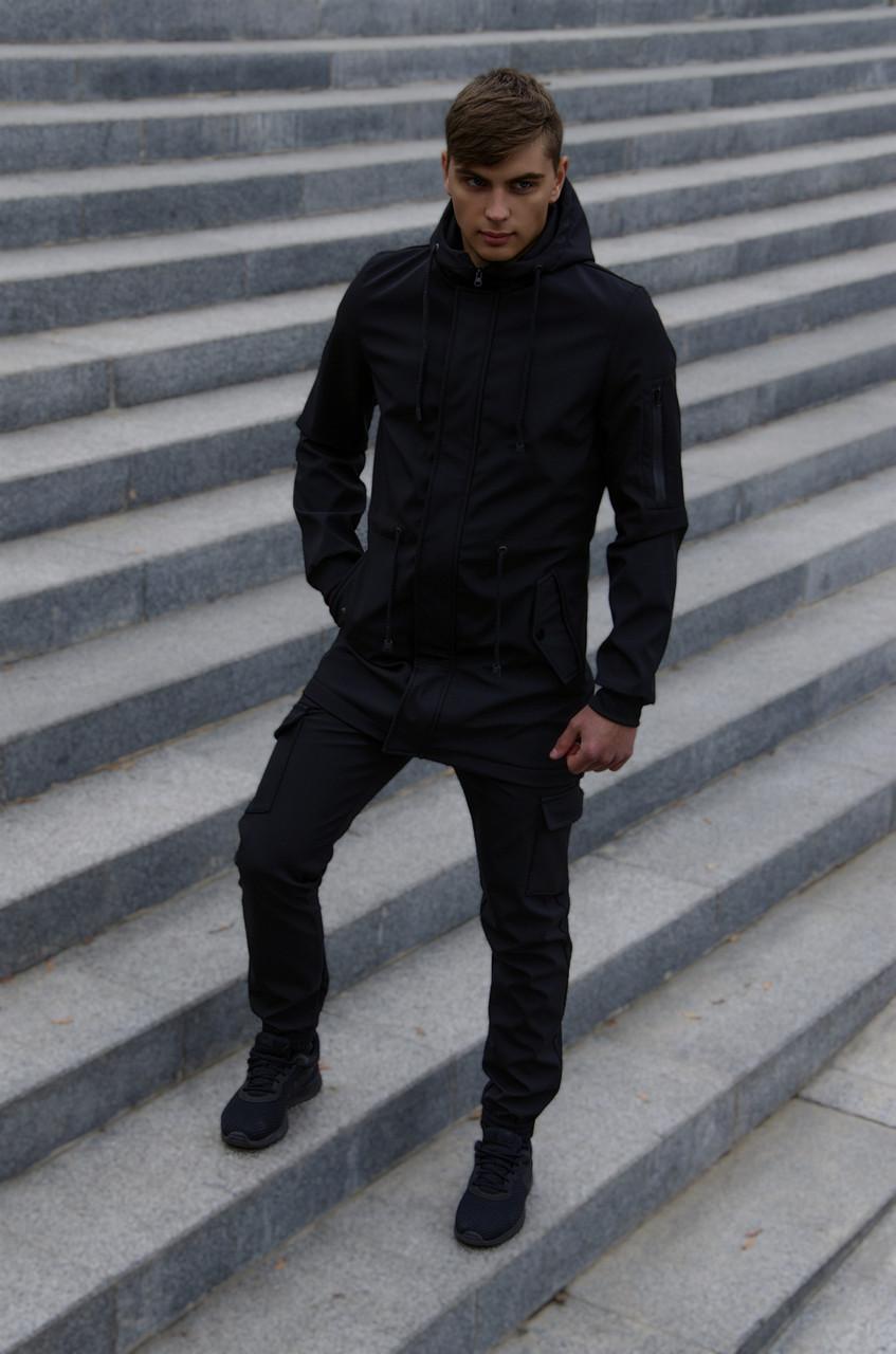 Костюм мужской Intruder Softshell V2.0 демисезонный (Куртка, штаны утепленные) осенний весенний черный