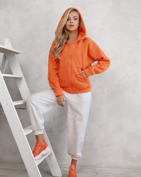 Оранжевое худи из трикотажа на флисе (S M L XL) L