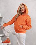 Оранжевое худи из трикотажа на флисе (S M L XL) L, фото 2