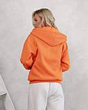 Оранжевое худи из трикотажа на флисе (S M L XL) L, фото 3