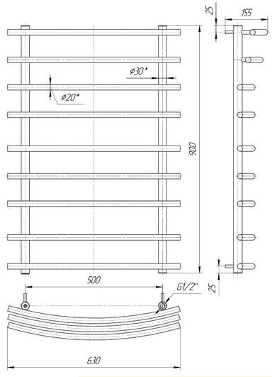 габаритные размеры водяного полотенцесушителя Марио 900x630/500