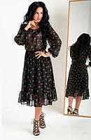 Платье женское шифоновое из цветочным принтом в чёрном цвете размеры 44,46,48,50