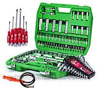 Набор инструментов 108 ед. ET-6108SP + набор ключей 12 ед. + Набор ударных отверток 6 шт. + магнит