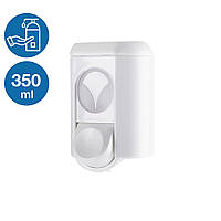 Дозатор раздатчик жидкого мыла шампуня моющего 350 мл белый нажимной пластиковый прочный настенный