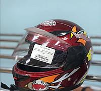 Детский шлем с закрытым подбородком с козырьком, цвет бордо размер S 55-56 (для детей от 4-5 лет)