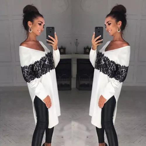Женская свободная удлиненная рубаха с кружевом