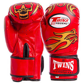 Перчатки боксерские DX на липучке красные TWINS MA-5435 12 унций