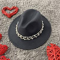 Шляпа Федора унисекс с устойчивыми полями Pearls темно-серая (графит), фото 1