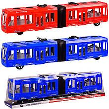 Троллейбус инерц.,2цвета, р-р игрушки  48*7*10 см, под слюдой 50*9*12 см /60-2/