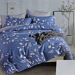 Комплект постельного белья сатин синий Листья Koloco Двуспальний 180х220см