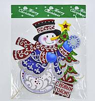 Новогоднее украшение для декора окон, стен Снеговик 35 см