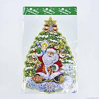 Новогоднее украшение для декора окон, стен Дед Мороз 50 см