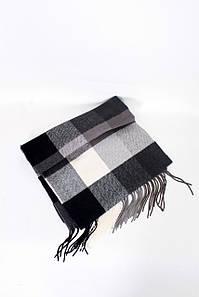 Чоловічі шарфи FAMO Чоловічий шарф Лестер чорний+білий 180*30 (MS-02) #L/A