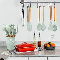 Кухонный набор из 12 предметов Kitchen Art зеленый с бамбуковой ручкой VIP кухонные принадлежности