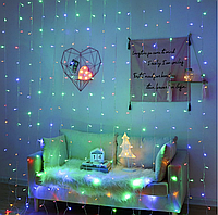 Светодиодная гирлянда штора на окно LED 240 лампочек с коннектором: размер 3х2,5м (мульти)