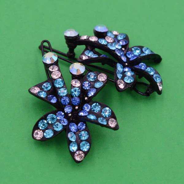 Шпилька на чубок, чорний метал, блакитні стрази(2 шт) 14_2_5a73