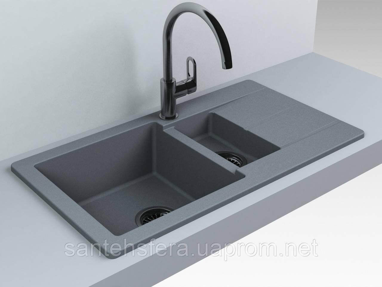 Прямоугольная гранитная кухонная мойка Fancy Marble Alabama, 107087013, цвет серый