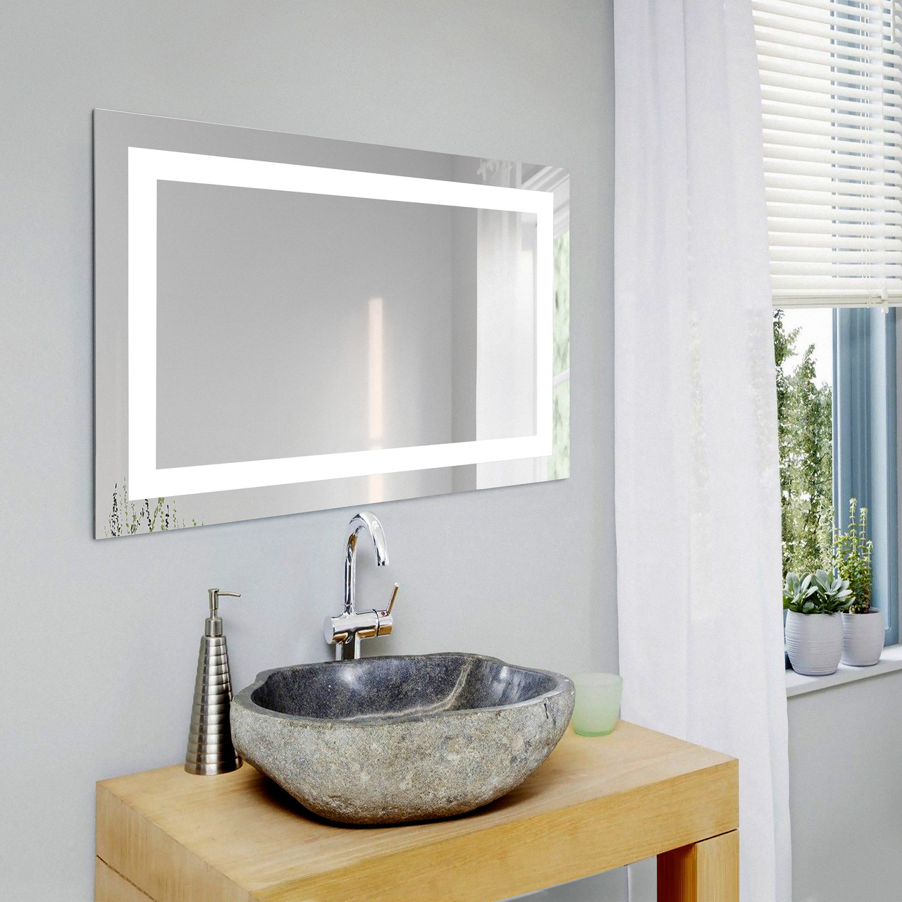 Прямоугольное зеркало с подсветкой 800х500 мм