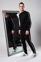 Fila Мужской спортивный костюм черный с брендовым лампасом без капюшона осень/весна.Реглан черный штаны черные