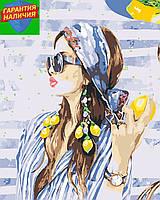 Картина по номерам Девушка с лимоном +ЛАК 40*50см Барви Раскраска по цифрам