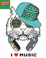 Картина по номерам Кот в кепке и наушниках +ЛАК 40*50см Барви Раскраска по цифрам Для начинающих