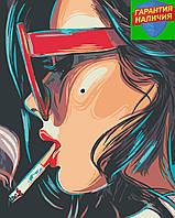Картина по номерам Девушка с сигаретой +ЛАК 40*50см Барви Раскраска по цифрам