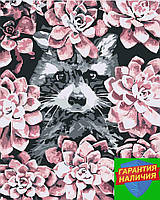 Картина по номерам Енот в цветах +ЛАК 40*50см Барви Раскраска по цифрам