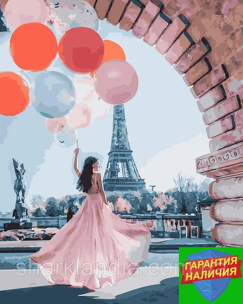 Картина по номерам Девушка в Париже (цветной холст) 40*50см Барви Розпис по номерах