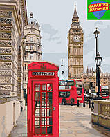 Картина по номерам Телефонная будка Биг-Бен Лондон +ЛАК 40*50см Барви Живопись по номерам