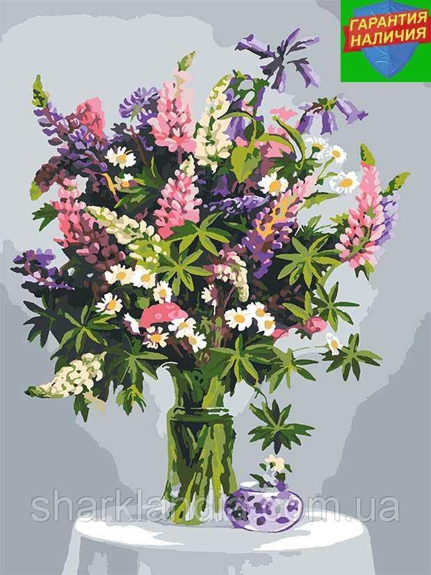 Картина за номерами Букет квітів на столі Натюрморт +ЛАК 40*50см Барви Розмальовки по цифрам