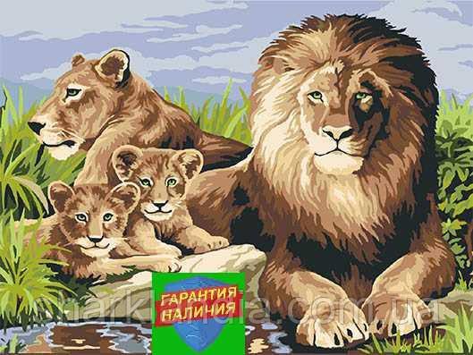 Картина по номерам Семья львов +ЛАК 40*50см Барви Лев Прайд Живопись по номерам Хищные