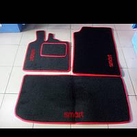 Текстильные черно-красные коврики для Smart Fortwo 450 (в салон и в багажник)