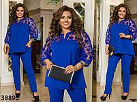 Яскравий брючний костюм двійка з рукавами і кокеткою з сітки з 50 по 64 розмір, фото 3